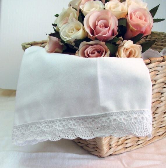 Crochet Lace Trim  Handmade Napkins, Shabby Chic Decor, Cottage Style Decor, Wedding Decor