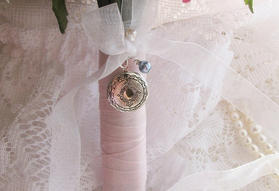 Locket Bridal Bouquet Charm, Locket, Something Blue Charm, Bridal Bouquet Charm