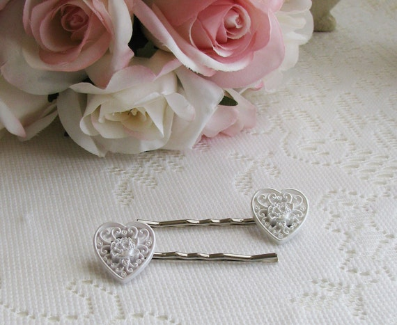 White Heart Hair Pins, Wedding Hair, Brides Hair, Decorative Bobby Pins