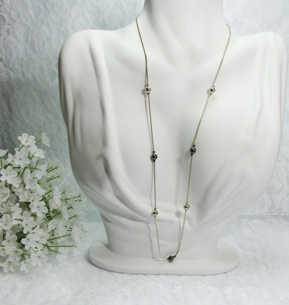 Vintage 1970 Silver and Onyx Necklace