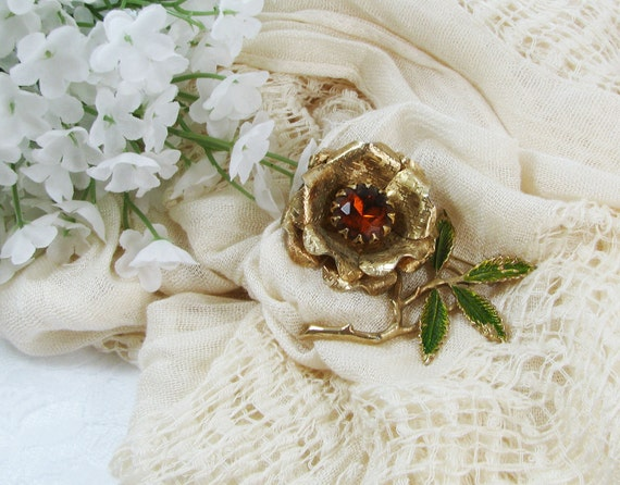 1960 Vintage Sarah Coventry Topaz Flower Brooch