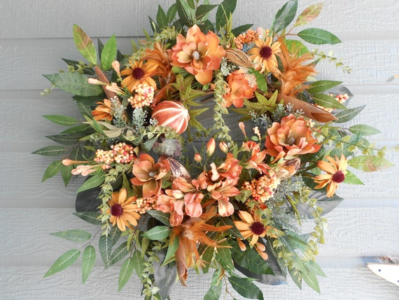 Autumn Floral and Pod Wreath.......