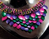 Spring Dragon Scale Maille Necklace - anodized aluminum