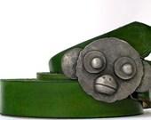 Belt buckle pewter- monkey belt buckle- belt buckle for snap belt- funny belt buckle