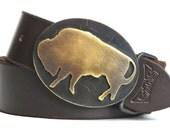 Brass Bison Belt Buckle