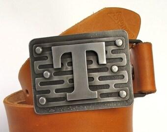 Custom belt buckle - initial buckle - hand forged - Tread buckle - personalized belt buckle -