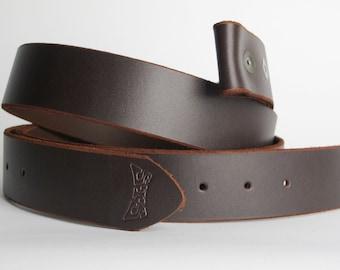 Latigo Brown leather belt - high quality snap belt - belt for men and women by Steel Toe Studios - dark brown leather - 3rd anniversary gift