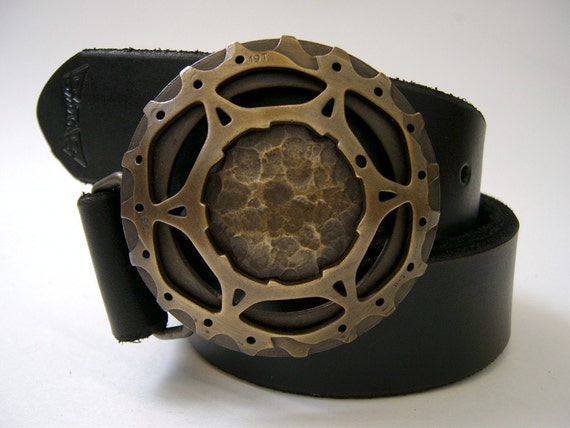 Brass Bicycle Cog Large Belt Buckle- bicycle fashion- bicycle art- Brass Satellite Belt buckle