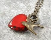 Love Bird Red Heart Necklace on Brass Chain