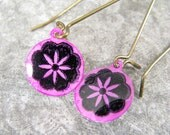 Hand Painted Pink Flower Earrings on long brass ear wires