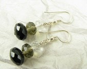 Tri-colored earrings in Black, Grey and Clear, Sterling Silver Earrings