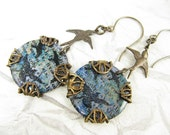 Bird Earrings, Blue background with stamped bird images, Brass Bird earrings