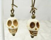 Skull earrings on long brass ear wires, Ivory Skulls, Bone Skulls, White Skull Earrings