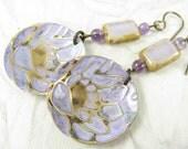Light Purple Lily Pond Earrings, Amethyst accent Earrings, Lavender Earrings