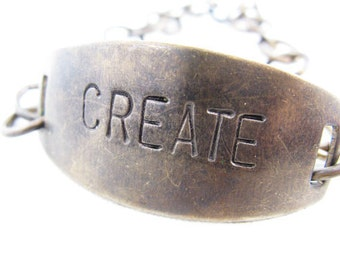 CREATE hand stamped brass bracelet, Hand Stamped Jewelry, Quote Bracelet