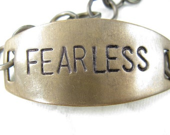 FEARLESS hand stamped brass bracelet, hand stamped jewelry, Natural brass