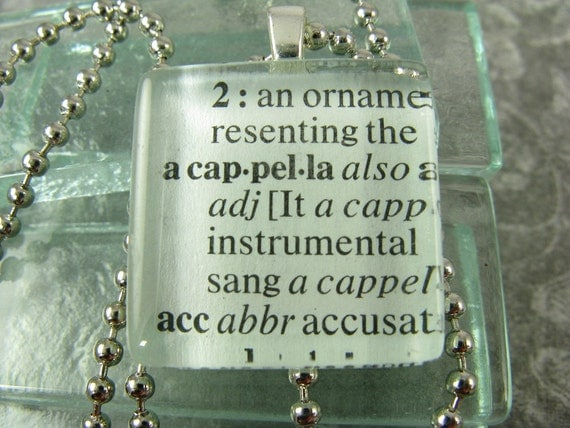 Free Chain ACAPPELLA  Glass Pendant Dictionary Definition Pendant