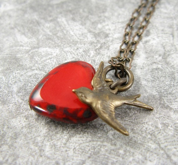 Love Bird Red Heart Necklace on Brass Chain