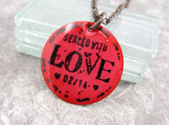 Bright Red LOVE pendant necklace. Hand painted and hand stamped.