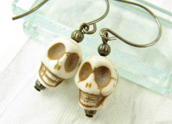 Skull earrings on short brass ear wires, Ivory Skulls, Bone Skulls, White Skull Earrings