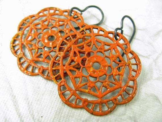 Orange painted earrings, Arte Metal, Hand painted earrings