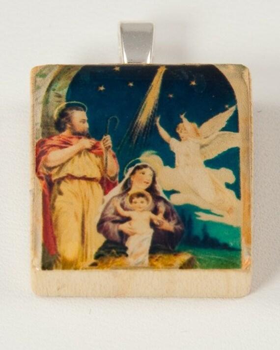 Christmas Nativity Scene with Angel Pendant Scrabble Tile Pendant