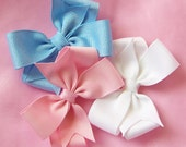 Light Pink, Blue and White Bows - 3 Inch Hairbow Set