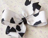 White and Black Cow Hair Bow - 3 Inch Hairbow -- EAT MOR CHIKIN
