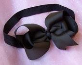 Big Brown Hairbow on Interchangeable Elastic Headband