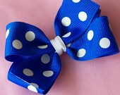 Electric Blue with White Polka Dots Hair Bow - 3 Inch Polkadot Hairbow