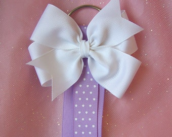 Lavender and White Bow Holder with FREE 4 Inch Hairbow
