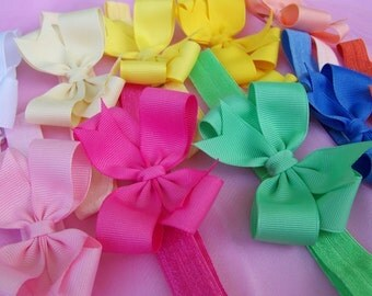 Custom Stretchy Headband with Hair Bow - You Choose from 20 Colors - Interchangeable Hairbow