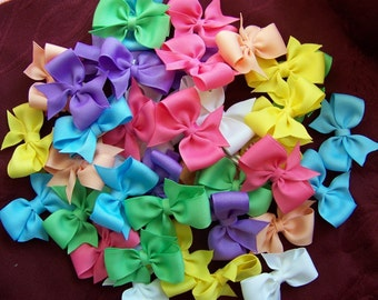 Custom Set of 6 Single Loop Pinwheel 2 Inch Bows -Many Colors and Fun Prints Available