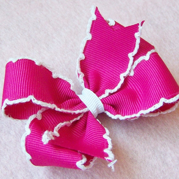 Shocking Pink and White 3 Inch Moonstitch Hairbow