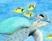 Sea Turtle ACEO ATC Print 2.5 x 3.5 Miniature Art Card by Pam Godwin - Turtle in the Bay