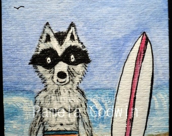 Raccoon with Surf Board ORIGINAL ACEO Animal Art Card 2.5 x 3.5 Beach Watercolor ATC