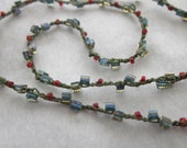 Berry Vine minimalist crocheted seed bead necklace great for layering