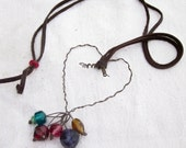 Rustic Shabby Chic Heart adjustable necklace with twisted wire pendant, colorful glass beads, and soft leather cord