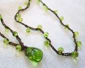 "Custom 22"" Citrus Green Lariat necklace crocheted with green drops and brown cord"