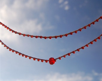 Infinity: simple claspless crocheted necklace in red