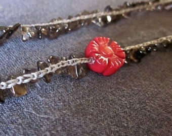 Red Aster in a Field: crocheted gemstone necklace with coral focal and smoky quartz chip strand