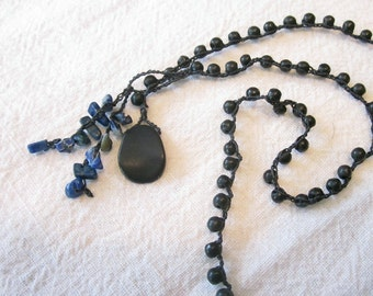 Crochet jewelry River Stone and Lapis crocheted necklace with front loop closure