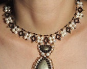Pirite and pearls necklace N418. Bronze and white necklace