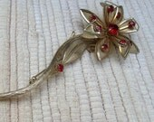 Daisies Are Red LARGE  Vintage Brooch