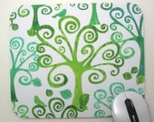 Buy 2 FREE SHIPPING Special!!   Mouse Pad, Computer Mouse Pad, Fabric Mousepad        Swirly Trees