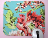 Mouse Pad, Computer Mouse Pad, Fabric Mousepad       Bliss Bouquet in Teal