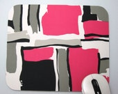 Buy 2 FREE SHIPPING Special!!   Mouse Pad, Computer Mouse Pad, Fabric Mousepad       Contemporary Pink & Black Geometrics