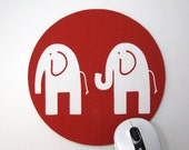 Buy 2 FREE SHIPPING Special!!   Mouse Pad, Round Fabric Mousepad or Trivet          White Elephants on Red