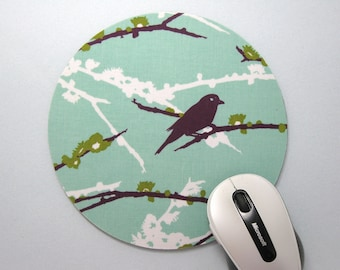 Buy 2 FREE SHIPPING Special!!   Mouse Pad, Round Fabric Mousepad or Trivet   Plum Sparrows on Mint Round