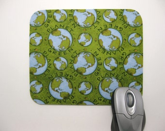 Buy 2 FREE SHIPPING Special!!   Mouse Pad, Computer Mouse Pad, Fabric Mousepad             Planet Green